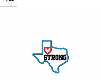 Texas Strong State with Heart Applique - 3 Sizes Included - Embroidery Design -   DIGITAL Embroidery DESIGN