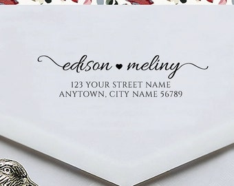 Personalized Custom Name Return Address Stamp Wedding Gift Card Handle Mounted Rubber Stamp Or Pre-Inked Stamp RE761