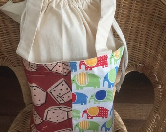 Cotton fabric lunchbag, boxy drawstring bag, Personalized lunch bag, eco-friendly bag, school supplies, reusable lunch sack, patchwork bag
