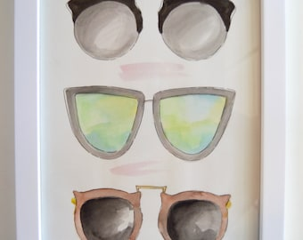 Sunglasses Watercolor; Original Handpainted