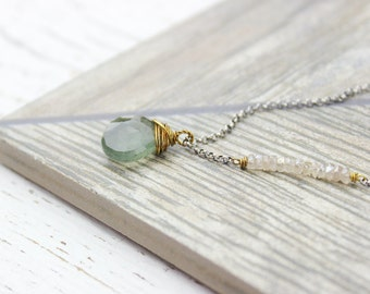 Moss Aquamarine Necklace, Mixed Metal Briolette Gemstone Necklace, Oxidized Sterling Silver Raw Brass Pendant Necklace