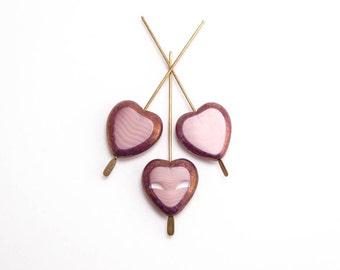 Marbled Pink Heart Czech Glass Beads, (6 pcs) 16x15mm Pink Heart Beads, Large Heart Beads, Glass Heart Beads, Pink Glass Heart HRT0063
