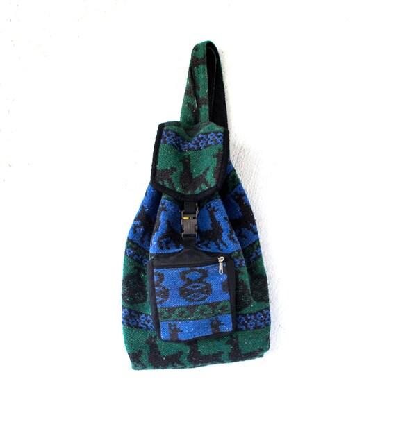 Vintage 90s Drug Rug Boho Hipster Backpack // Mexican Bag