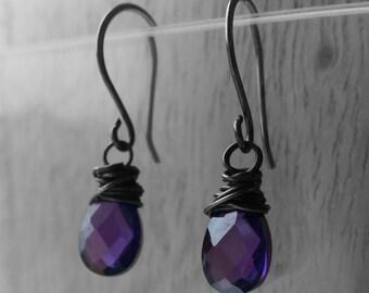 Sterling silver wrapped Amethyst briolette earrings