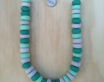 Handmade Mini Coin Polymer Clay Necklace - Choc Mint Double Scoop