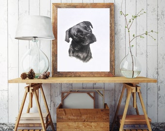 Handdrawn Dog Art...Drawn in pen & ink...Dog art...Print...Friendly puppy face...dog drawing art...lifelike dog art...lifelike puppy drawing
