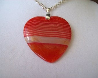 "Orange Striped Agate Heart pendant with chain 2"" long"
