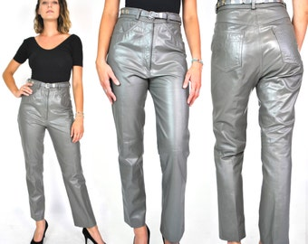 1970s Gunmetal Gray Leather Pants Stud Belted High Waisted Ankle Length Skinny Pants Grey Western Pockets Women's Trousers 27 28