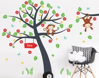 Blossom Tree and Monkeys Wall Decal - Nursery Monkeys And Name Wall Sticker - Swinging Monkey on Tree Branch Wall Decal