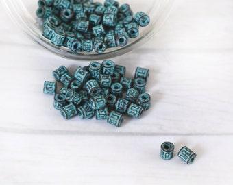 10pcs Green Patina Metal Beads 5mm, Spacer Beads, Mini Tubes, Verdigris Green Patina Pendant, Jewelry Making