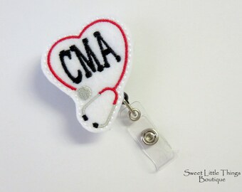 Retractable ID Badge Holder, CMA ID Badge Reel, Name Badge Holder, Badge Clip, Nurse, Doctor, Teacher, Pharmacist