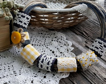 Fabric Beaded Necklace Fabric Beads Artisan Necklace Textile Lace Necklace Boho Fabric Jewelry Yellow grey Necklace Gift Inspired OOAK