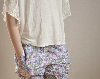 Girls Cotton Shorts Flower Print