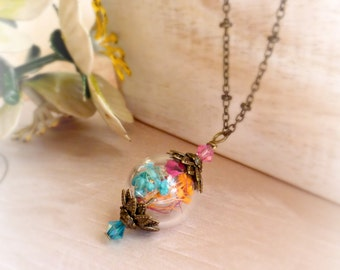 Flower vial necklace Terrarium necklace Dry flowers necklace Real flower necklace Botanical jewelry Gift for girlfriend Gift for wife