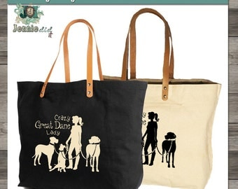 Crazy Dog Lady Tote Bag, Dog Lover Gift, Great Dane Tote Bag, Wolfhound Tote Bag, Boxer Tote Bag, Pit Bull Tote Bag Made in USA