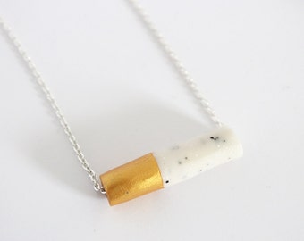 Gold Marble Clay Necklace