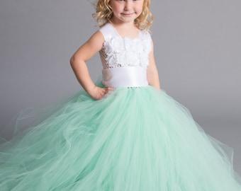 Flower girl dress - Tulle flower girl dress - Mint Dress - Tulle dress-Infant/Toddler - Pageant dress - Princess dress - White flower dress