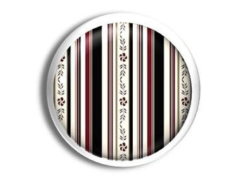 Decorative Dresser Knob - Black and Burgundy Brown Floral Stripe - Girls Room, Girly, Dresser Drawer Pull, Cabinet - 1214UU