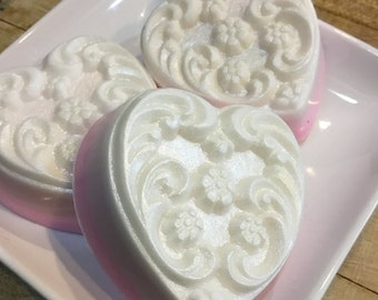 Pink Heart, Shimmer Pink Heart Soap, Homemade, Soap, Shea Soap, Pink Heart White Rose, Heart Shape Soap, Valentine's Soap,