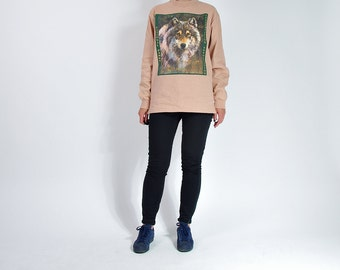 40% OFF SALE - Vintage Down To Earth Wolf Longsleeve Made in USA / Men M Women M/L