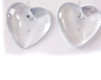 VINTAGE CLEAR HEART Earrings 1.25 inch pierced Vintage Earrings Retro Earrings Heart Earrings