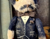 "Primitive Folk Art *Mustache Cat*--""Tuxedo Tom""--OOAK-Plush Felt Cat-Kitty-Dapper Feline-Vintage-MDCFAAP, Hafair Team"
