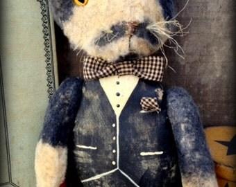 "Primitive Folk Art *Mustache Cat*--""Tuxedo Tom""--OOAK-Plush Felt Cat-Kitty-Dapper Feline-Vintage-MDCFAAP, Hafair Team"