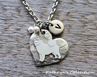 Samoyed Necklace, American Eskimo, Samoyed Jewelry, Samoyed Gift, Heart Dog Jewelry, Samoyed, American Eskimo, Dog Necklace