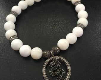 White Bone Vintage Diamond Stretch Bracelet
