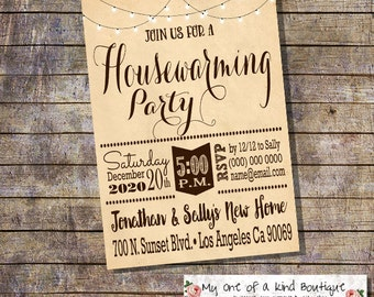 Housewarming invitation house warming party new home open house invite light string vintage digital printable invitation 13971