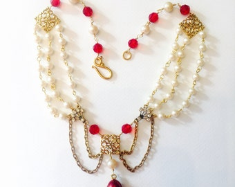 Regal Necklace with Russian Faberge style egg locket