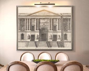 Louvre Print : 17th C. Façade Du Louvre vintage Louvre poster architecture print
