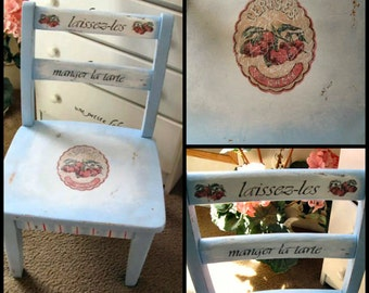 OOAK Handpainted Vintage 1950's Child's Chair Shabby French Cherries