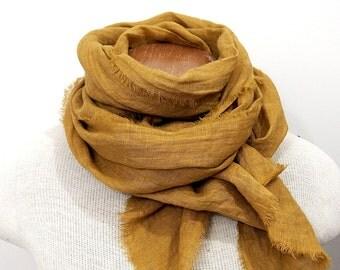 Mustard Linen Scarf, Hand Dyed, Gold Scarf, European Linen, Fall Winter, Lightweight Linen Gauze, Made in USA, Deep Yellow Scarf, Unisex