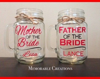 FAST SHIPPING-Personalized Rustic Wedding Mason Jars for the Parents-Mother of the Bride, Father of the Bride, Mother/Father of the Groom