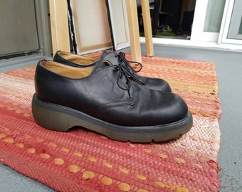 Doc Martens black leather platform clogs made in England/ womens UK 7 US 9