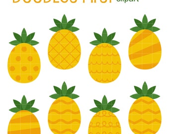 Patterned Pineapples Clip Art for Scrapbooking Card Making Cupcake Toppers Paper Crafts