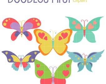 Happy Butterflies Digital Clip Art for Scrapbooking Card Making Cupcake Toppers Paper Crafts
