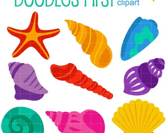 Bright Seashells Clip Art for Scrapbooking Card Making Cupcake Toppers Paper Crafts