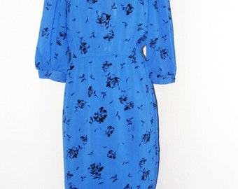 Vintage 1970s Blue Secretary dress by ITEMS California in size 8