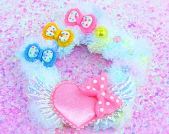 White multi colored fuzzy star clip-hair clip-fairy kei-sweet lolita-pastel accessory-heart clip-star clip-pink bow-cabochon-fairy kei