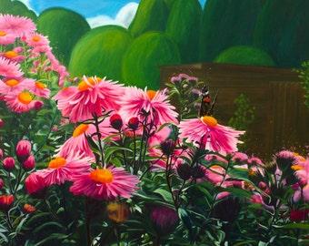 "Michaelmas Daisies, 16x16"" Open Edition Giclee Print"
