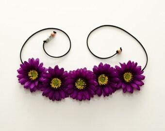 Purple Daisy Flower Crown, Flower Headband, Hippie Headband, Festival Headband, Bohemian Headband, BoHo Headband, Festival Clothing