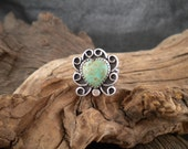 Size 7.5 Ring Turquoise Heart Stone Sterling Silver Ring Handmade Signed Piece