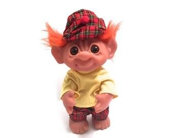 "Vintage 1977 Thomas Dam Troll - Made In Denmark - 9"" Tall With Original Clothes and Hat - Orange Hair Scottish Irish Troll - Large Troll"