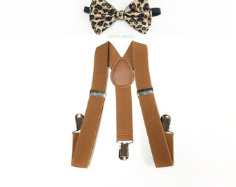 KID's suspenders, LIGHT brown, leopard bowtie, brown bowtie, brown suspenders, toddler suspenders, boy suspenders, boys suspenders