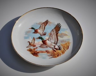 Vintage Game Bird Decorative Wall Plate Mallard Ducks, Naaman Porcelain Made In Israel, Gold Trim, 1970s Cabin Cottage French Country Decor!