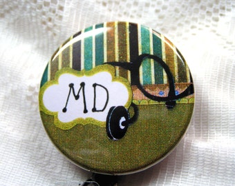 green and gold id badge holder for MD,doctor's badge reel,will customize,appreciation gift for MD,retractable badge pull for doctor
