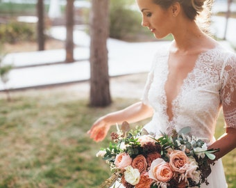 Lace and chiffon wedding dress, illushion neckline, deep V neckline, ivory wedding gown// Magnolia, Ready to ship sample EU36 size!