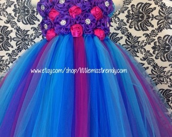 Couture Flower Girl Tutu Dress, Blue Purple Pink Flower Girl Tutu Dress, Flower Girl Tutu Dress, Tutu Dress with Flowers, Flower Girl  Dress